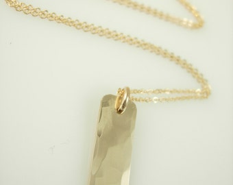 Initial Bar Necklace - Gold Bar Necklace - Initial Necklace - Engraved Necklace