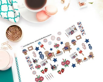 Watercolor Patriotic Decorative Stickers