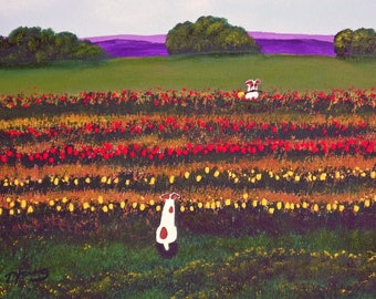 A Tulip for You Jack Russell Terrier print by Todd Young