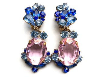 Luxury wedding/bridal/prom/evening/vintage pink and blue crystal earrings with clips