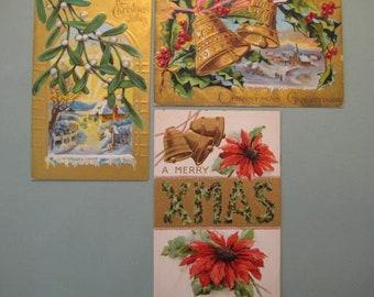 Vintage Christmas Postcards / Antique Christmas Postcards / Village / Lithographed / Embossed / Bells / Poinsettia / Mistletoe / Holly