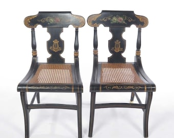 Pair antique painted side chairs cane seat black floral decorated 19th century