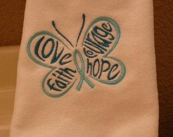 Ovarian Cancer Fingertip Towel - Love, Faith, Courage, Hope Butterfly