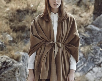 Cashmere poncho, camel poncho, camel coat, womens coat, wool coat, womens poncho, womens cape, wool poncho, fabric poncho, cashmere sweater