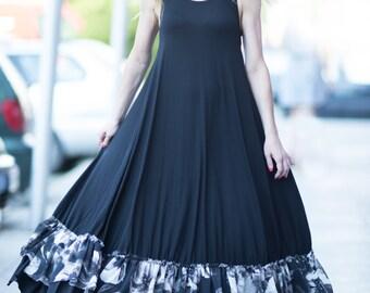 Long Maxi Dress, Cut Sleeves Dress For Women, Summer dress, Black Cotton Dress, Sleeveless Dress, Evening Dress - DR0184TRCO