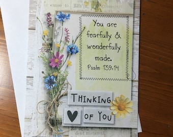 Item #43 Friendship/Encouragement/Thinking of You Greeting Card - Thinking of You - You are fearfully & wonderfully made. Psalm 139:14
