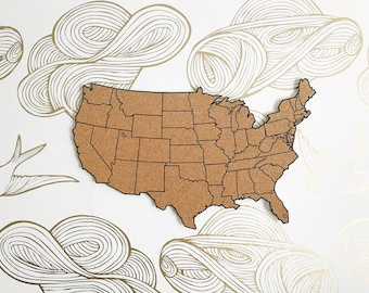 United States Corkboard Map Adhesive Cork Map Pin Board Gifts for Teachers