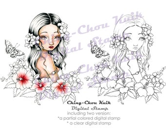 Aloha, Lady  - PRINTABLE Instant Download Digital Stamp / Hawaii Butterfly Hibiscus Plumeria Fairy Girl Art by Ching-Chou Kuik
