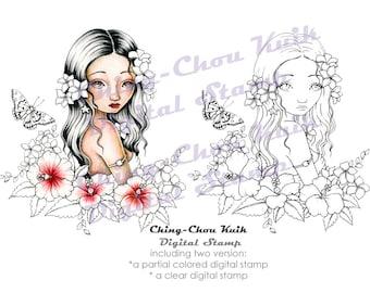Aloha, Lady - afdrukbare Instant Download digitale stempel / Hawaii Butterfly Hibiscus Plumeria Fairy meisje kunst door Ching-Chou Kuik