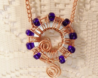 Wire wrapped lock washer necklace / copper wire and colbalt blue glass beads / copper chain