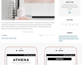 Blogger Template Responsive, Blogger Theme, Minimal, Slider, Simple, Photography, Template for Blogger, Premade, Blogspot - Athena