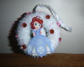 Sofia the First Ornament / Christmas Ornament / Mini Wreath Ornament