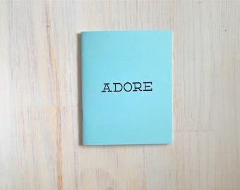 Medium Notebook: Love, Adore, Romance, Blue, Blank Journal, Wedding, Favor, Journal, Blank, Unlined, Unique, Gift, Small, Notebook, Z31