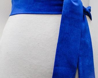 Blue Suede obi Belt | Suede Narrow Belt | Leather Tie belt | Narrow Suede Leather Belt