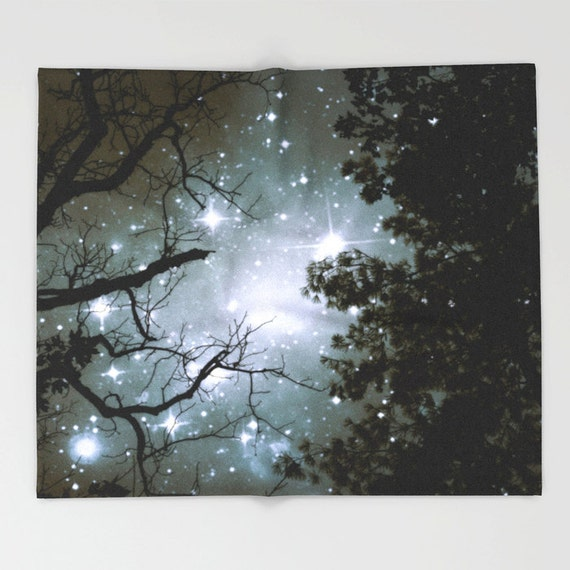 Trees Throw Blanket, Stars Blanket, Night Sky Super Soft Blanket, Nature Blanket, Home Decor, Tree Branches,Woodland,Woods,Starry Night,Dorm