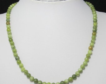 green kyanite 6mm and 925 Silver 19 inch Necklace