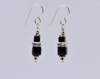 Black Swarovski Crystal Squaredelle Earrings in Sterling Silver // Special occasion earrings // Bridesmaid earrings // Gifts for under 20