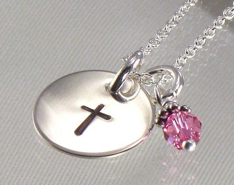 Cross Necklace for Girls - Hand Stamped  Silver Disc with Birth Crystal Charm-Great for First Communion, Baptism, Confirmation, Easter Gift