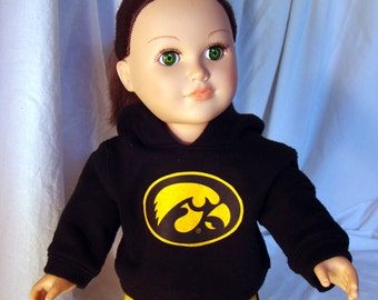 "American Girl or American Boy Style 18"" Dolls fit these University of Iowa Hawkeye and Denver Broncos Hoodie & Sweatpants Doll Outfits!"