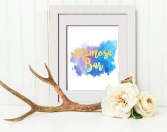 INSTANT DOWNLOAD PRINTABLE Wedding Mimosa Bar Sign, Wedding Sign, Floral Bridal Shower Mimosa Bar Sign, Bridal Shower Sign
