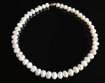 White Pearl 14k Necklace - Hand Knotted Semi-Baroque - Gift for Her