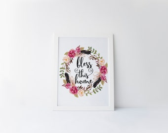 """PRINTABLE Art """"Bless This Home"""" Typography Art Print Floral Wreath Art Print Home Decor Wreath Art Print Inspirational Quote Floral Feather"""
