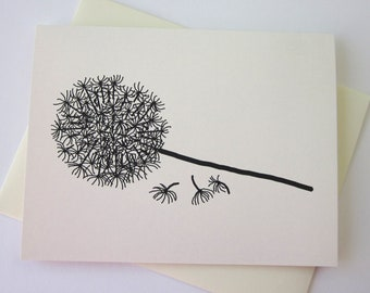 Dandelion Note Card Set of 10 in White or Light Ivory with Matching Envelopes