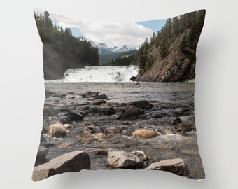 Rustic Mountain Lodge Decor, Brown Rocks Cushion Case, Accent Pillow Covers For A Cabin, Grey Lake House Art, Mountain Pillow Case Handmade