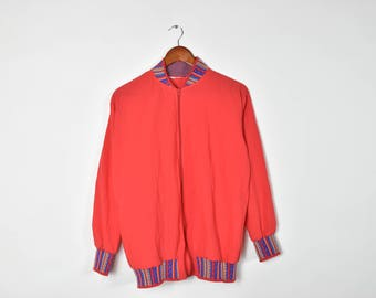 Vintage Red and Tribal Patterned Thin Bomber Jacket