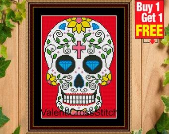 Cross Stitch Pattern Sugar Skull, skull patterns, cross stitch patterns, Modern Pattern, Counted Cross Stitch, #sp 2
