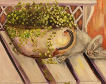AFTERNOON DELIGHT, Original 12 X 16 Oil  of sleeping kitten on garden bench by Lesley Mills from Merlin's Garden Free Domestic Shipping