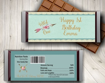 Wild One, 1st Birthday, Candy Bar Wrappers, Personalized Baby Shower, Birthday Party Favor, Boho Chic, Aztec Tribal