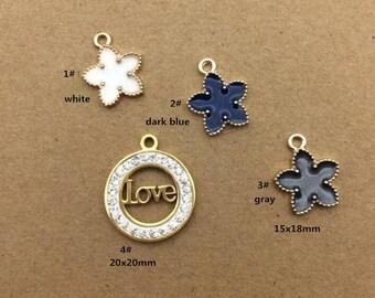 10PCS, Enamel Charm, Love Charm, Flower Charm, Girl Pendant, Jewelry Charm, Craft Supplies, Gold Tone