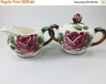 Sale Vintage Lefton Americana Rose Pattern Creamer and Sugar Made in Japan