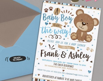 Little Bear Baby Shower invitation Blue and Brown Bear Invitation DIY printable couples Blue and Brown Bear baby shower invitation