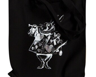 Alice in Wonderland - The White Rabbit Print On a Black Tote Bag