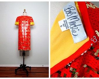 Bob Mackie Neon Sequin Trophy Dress // Neon Red-Orange Sequined Dress US Size 6