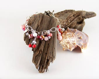 Valentine's Bracelet, Cherries, Hearts, Love