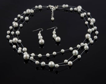 Float on Air - floating pearl necklace and earring set