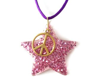 girl necklace - kids necklace - kids jewelry - girl gift - teen gift - wooden necklace - neon jewelry - star necklace - trendy jewelry