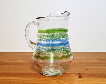 Glass Pitcher Green Blue Paisley Stripes Lemonade Iced Tea