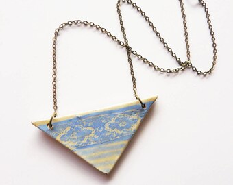Ceramic necklace lace, handmade ceramic triangle, style packed, blue green, lavender, unique, handmade