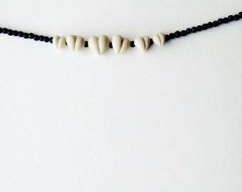 black romantic necklace - minimal cute heart jewellery - nO.192 'Tears shape little hearts'