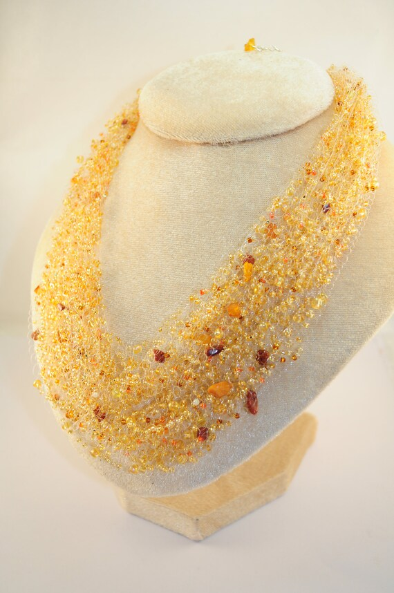 Amber handmade beaded necklace Crochet beads air necklace