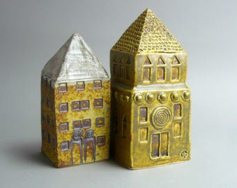 Small Clay Home , Yellow Tower House, OOAK , Miniature Building  , Gift for An Architect , Architecture , Ceramic Sculpture,Tall Building