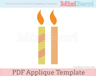 Candle Applique Template PDF Applique Pattern 2 Designs Instant Download