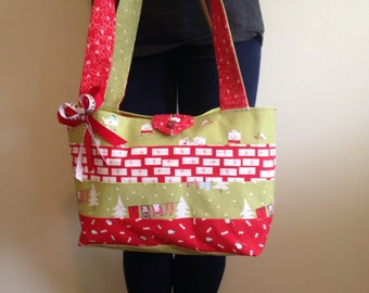 Christmas Fabric Strips Purse or Bag in Red and Green