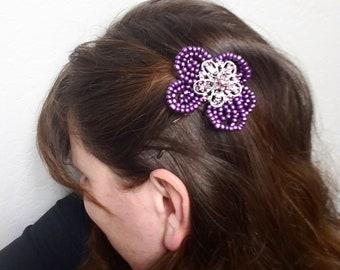 "2.5"" Purple French Beaded Flower Hair Bobbypin"