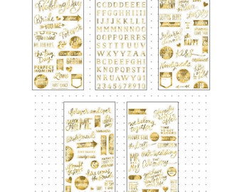 MAMBI Pocket Pages WEDDING DAY Gold Foil Stickers, Planner Stickers, Journal Stickers, Photo Stickers, Scrapbooking Stickers (PPs-46)
