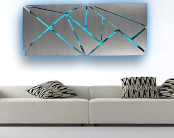 Metal Wall Art - Lighted Wall Art - Metal Wall Sculpture - Modern Wall Art - Geometric Wall Art - Abstract Art - LED Art - Contemporary Art